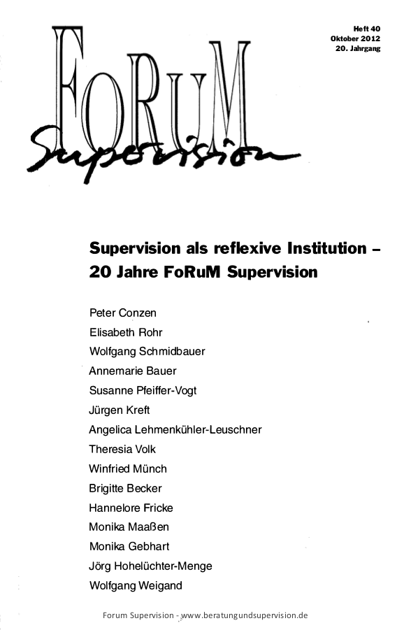 Supervision als reflexive Institution - 20 Jahre FoRuM Supervision
